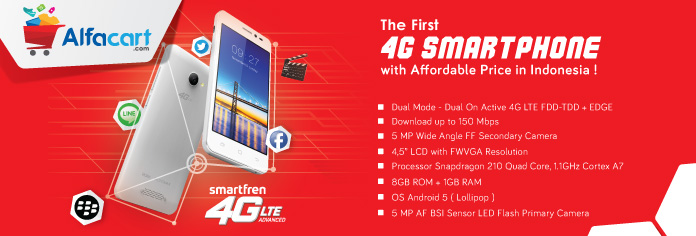 Smartfren Andromax A, HP Android 4G VoLTE Harga Rp 600 ribuan Ekslusif di Alfacart!